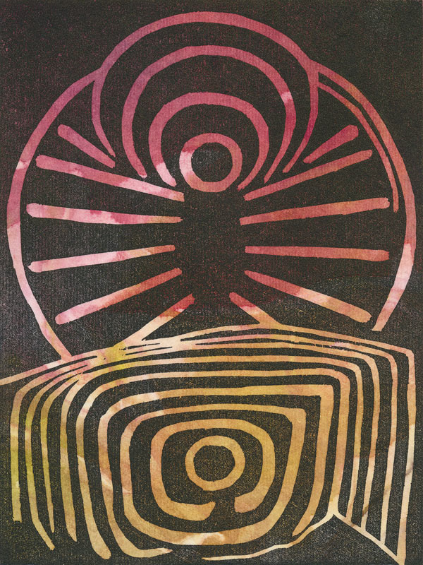 """Spring Equinox"" - woodblock with splash ink chine collé"